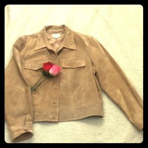 Suede trucker button down suede leather jacket